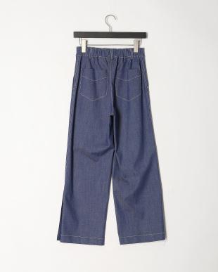 ブルー デニム調裾ベンツパンツを見る