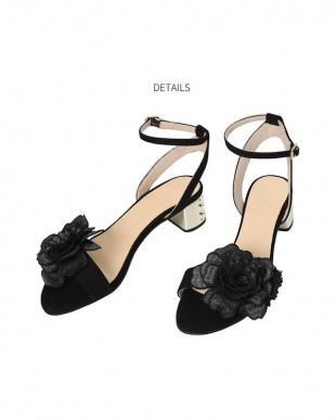 ブラック [HELIA]03-metal chunky flower sandalsを見る