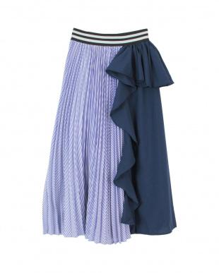 ネイビー 異素材MIXフリルプリーツスカートを見る