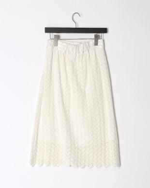 ホワイト  総レース ギャザースカートを見る