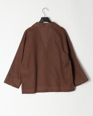 ブラウン 綿麻七分袖ジャケットを見る