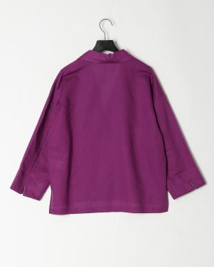 パープル 綿麻七分袖ジャケットを見る