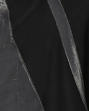 09ブラックシルバー系 カラミ×シャイニーサテン切り替え フーデットコクーンコートを見る