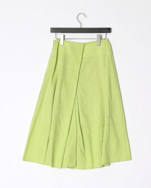 ブライトグリーン タック入りフレアースカートを見る