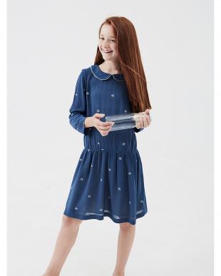 ネイビー フラワー 七分袖ドレスを見る