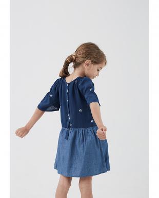 ネイビー フラワー 切替 五分袖ドレスを見る