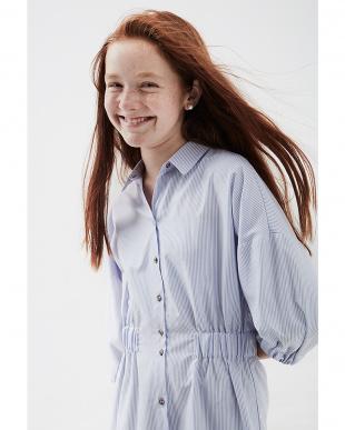 ブルー ストライプ 七分袖 シャツドレスを見る