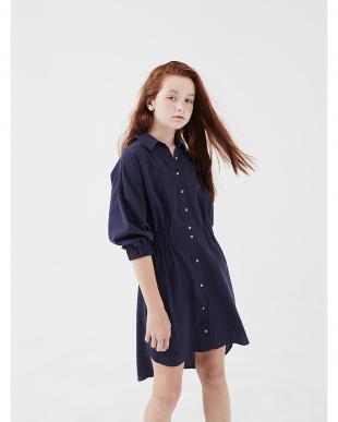 ネイビー 七分袖 シャツドレスを見る