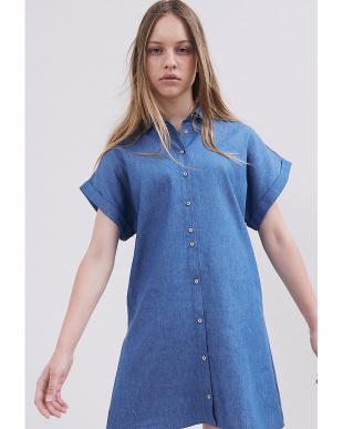 インディゴ リボンベルト付 半袖シャツドレスを見る