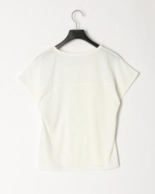 ホワイト 切替メッシュデカロゴプリントTシャツを見る