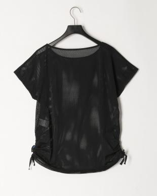 ブラック ストレッチメッシュ重ね着Tシャツを見る