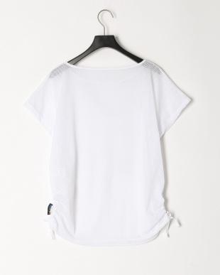 ホワイト ストレッチメッシュ重ね着Tシャツを見る