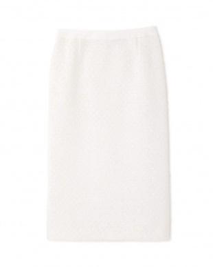 ホワイト ペーパーヤーンツイードタイトスカート アドーアを見る