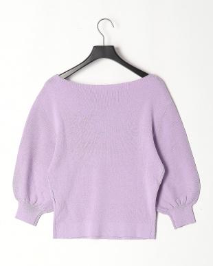 70/紫系A ふんわりスリーブ ニットプルオーバーを見る