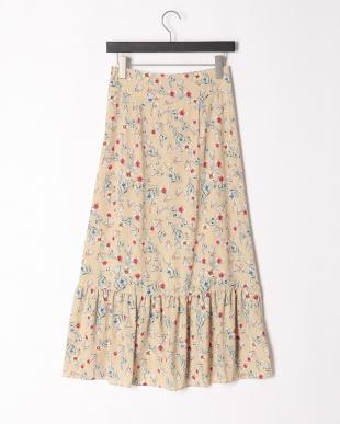 ベージュ フレンチフラワープリントスカートを見る