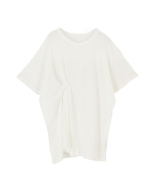 オフホワイト 斜行天竺タックデザインTシャツを見る
