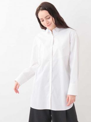 ホワイト 【洗濯機で洗える】チュニック丈シャツ MK MICHEL KLEINを見る