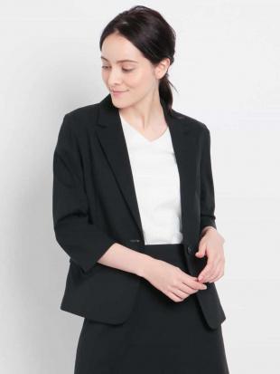 ブラック 【セットアップ対応/洗える】七分袖テーラードジャケット MK MICHEL KLEINを見る
