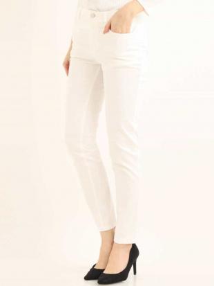 ホワイト 【洗濯機で洗える】ベーシック細身パンツ MK MICHEL KLEINを見る
