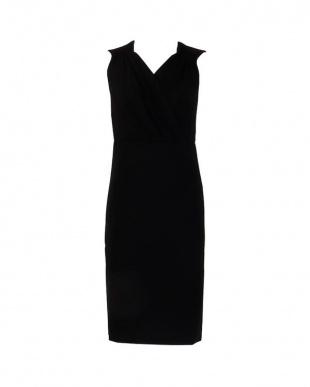 ブラック カシュクールギャザージャージースリットドレスを見る