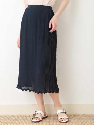 ネイビー 刺繍プリーツスカート【洗える】 TARA JARMONを見る