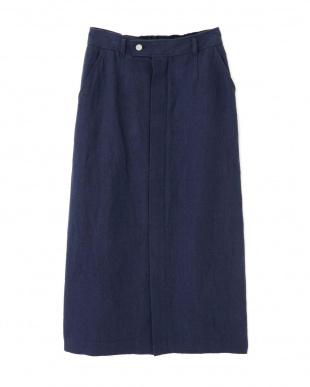 ネイビー ◆≪Japan Couture≫リネンシルクスカート ヒューマン ウーマンを見る