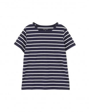 ネイビー×オフ2 新きょう綿半袖Tシャツ ヒューマン ウーマンを見る