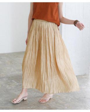 キャメル ワッシャープリーツマキシスカートを見る