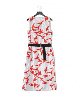White ベルト付 カモメプリント ノースリーブ ドレスを見る