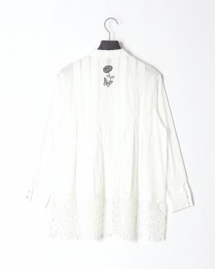 オフホワイト 蝶襟シャツを見る