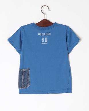 ブルー デニム脇ポケットTシャツを見る
