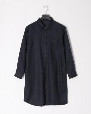 ネイビー フレンチリネンタックデザインロングシャツを見る
