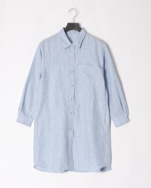 サックスブルー フレンチリネンタックデザインロングシャツを見る