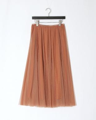 ベージュ チュールフレアースカートを見る