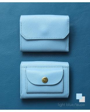 ライトブルー/トープ 「なくさない財布」 小さくて使いやすく、とても安全な ミニ財布 。を見る