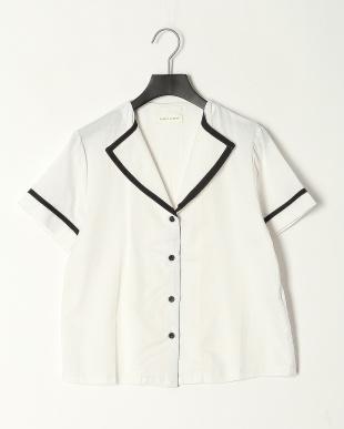 オフホワイト ツイルトリム半袖パジャマ&ショートパンツセット タンクトップ付きを見る