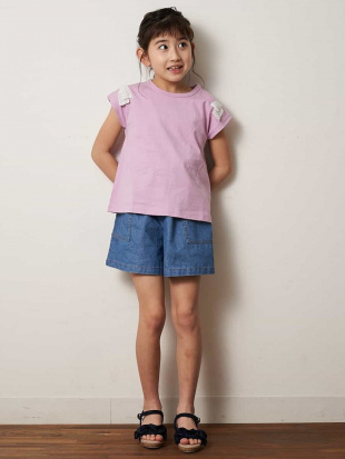 ピンク [100-130]ショルダーリボン半袖Tシャツ[WEB限定サイズ] a.v.v bout de chouを見る