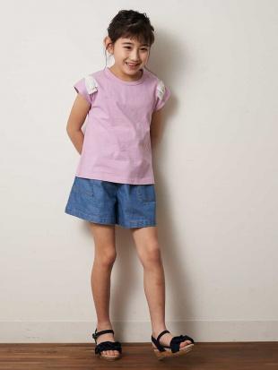 ライトブルー [140-150]ショルダーリボン半袖Tシャツ a.v.v bout de chouを見る