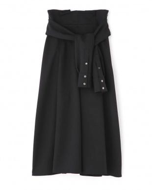 ブラック ミドルジョーゼットフレアースカート アドーアを見る