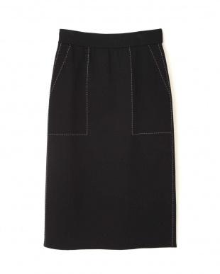 ブラック ◆ステッチジャガードニットスカート アドーアを見る
