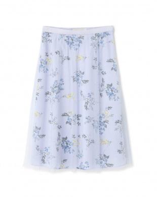 ブルー ◆フラワープリントチュールスカート NATURAL BEAUTYを見る