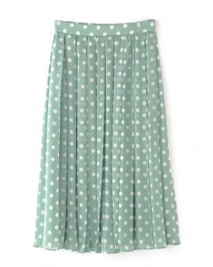 ミントグリーン ◆シフォンドットプリントプリーツスカート NATURAL BEAUTYを見る