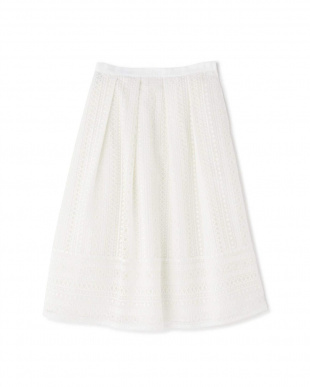 ホワイト ◆裾切り替えタックレーススカート NATURAL BEAUTYを見る