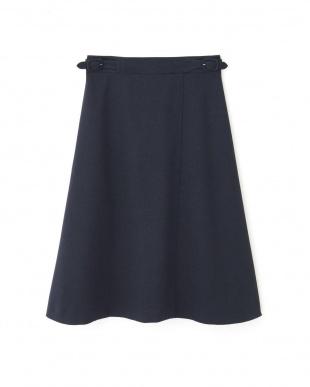 ネイビー ◆[ウォッシャブル]リネンライクツイルフレアーラップスカート NATURAL BEAUTYを見る