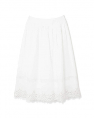 ホワイト [ウォッシャブル]レースエッジロングスカート NATURAL BEAUTYを見る