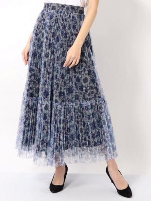 ブルー チュールフラワープリーツスカート MERCURYDUOを見る