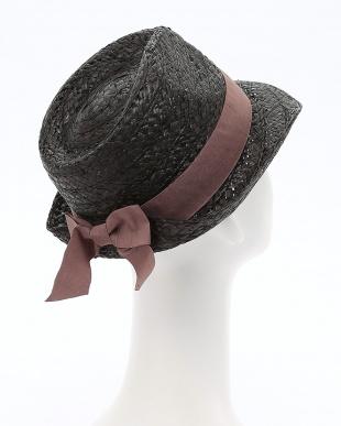 ブラック ラフィア リア リボン HATを見る