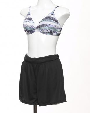 パープル かすれボタニカル柄Tシャツ・ショートパンツ付き4点セット水着を見る