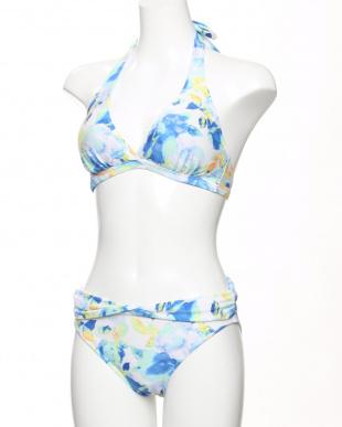 サックス ぼかし花柄サロートパレオ付き3点セット水着を見る