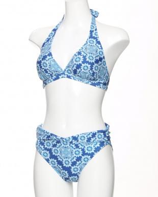ブルー エスニック花柄サロートパレオ付き3点セット水着を見る